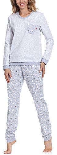 Cornette Damen Schlafanzug 671 2016 (Melange/Weiß(White Bear 2), 42 (Herstellergröße: XL))