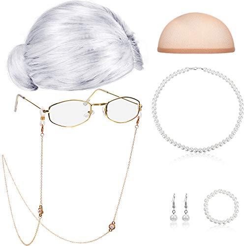 Gejoy Alte Dame Cosplay Set Großmutter Perücke Kappe Brille Kette Schnüre Faux Perle Perlenkette (Silber Weiß Brötchen Perücke)