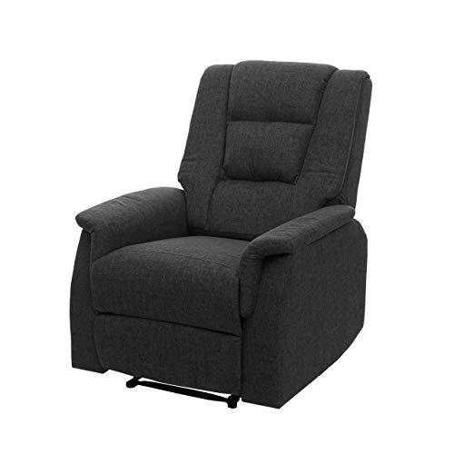 Mendler Fernsehsessel HWC-F23, Relaxsessel Liege Sessel, Stoff/Textil 102x79x96cm ~ grau ohne Massage- und Wärmefunktion