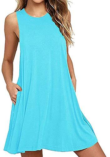 OMZIN Damen Casual Sommer Taschen Stretchy Tee Shirt Kleid, L, Tasche-wasser Blau
