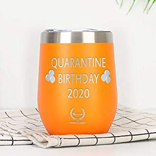 Quarantine Birthday Gifts,2020 Funny Novelty Wine glass Personalized Present for Women, Men, Coworkers, Friends - Vacuum I...