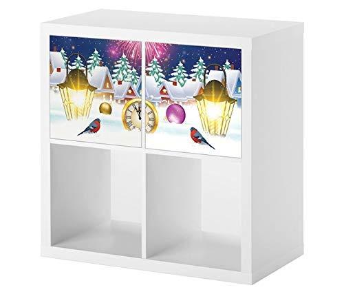 Möbelaufkleber für Ikea KALLAX / 2x Türelemente Feuerwerk Sylvester Himmel Weihnachten 12 Uhr Kat2 Kinderzimmer Winter KL2 Aufkleber Möbelfolie Tür sticker (Ohne Möbel) 25E2521