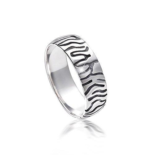 MATERIA Damen Ring Zebra 925 Sterling Silber afrikanisch antik bicolor deutsche Fertigung #SR-115, Ringgrößen:62 (19.7 mm Ø)