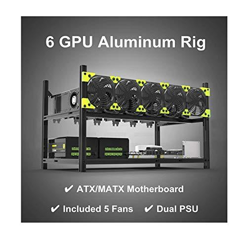 RXFSP Profesional 6 GPU Minero Minería Caso Aluminio Marco Minería Rig Negro
