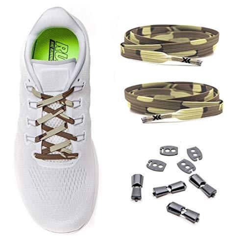 MAXX laces elastische Schnürsenkel flach für alle Schuhe - Schnellverschluss Schnürbänder ohne binden für Damen, Herren, Kinder - Sneaker, Sportschuh, Arbeitsschuh, Trekkingschuh [Camo]