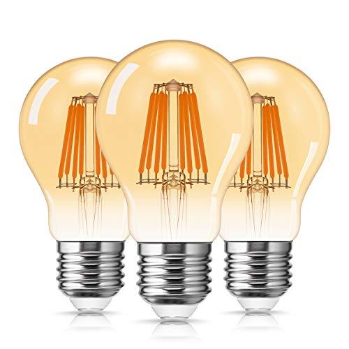 LED Vintage Glühbirne A19, DORESshop E27 Retro Lampe, 8W ersetzt 80W Antike Glühbirne, 2700K Warmweiß, 800LM Amber Glas Birne Ideal für Dekorative Beleuchtung mit Antike Nostalgie Stil, 3er-Pack