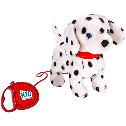 "Kid Connection 9"" Plush Dalmatian Walking Pet Dog , Black & White Barking Tail Wagging Remote Control Leash"