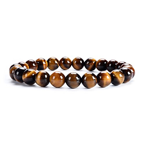 Cherry Tree Collection Natural Semi-Precious Gemstone Beaded Stretch Bracelet 8mm Round Beads 7' (Tiger's Eye)