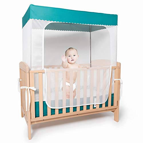 YeTrini Crib Netting Mosquito Sturdy Baby Safety Tent Non PopupCrib Net to Keep Baby in Keep Cats Out Crib Nets for Babies Premium Crib Net Canopy Cover to Keep Baby from Climbing Out Royal Green
