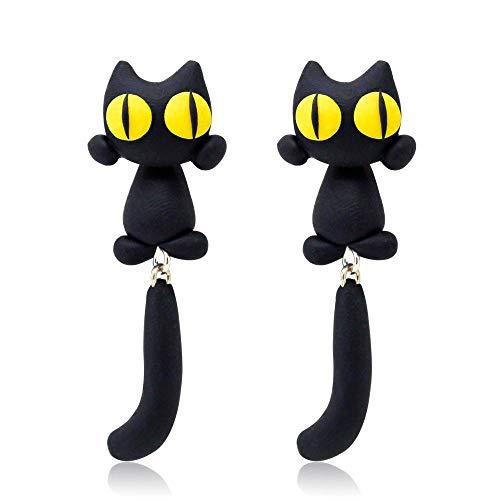 Haokaic Arcilla polimérica Ojos Amarillos Pendientes de Gato Pendientes de Perno Prisionero de Animales de Dibujos Animados para Mujer Joyería de Oreja de niña(Negro)