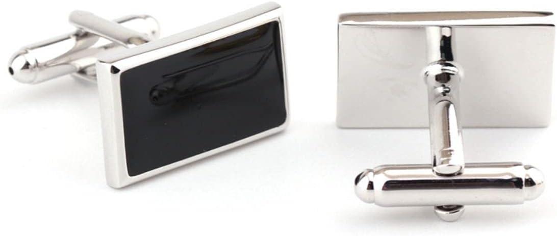 BO LAI DE Men's Cufflinks Simple Rectangle Black Cufflinks Shirt Cufflinks Suitable for Business Events, Conferences, Dances, with Gift Boxes