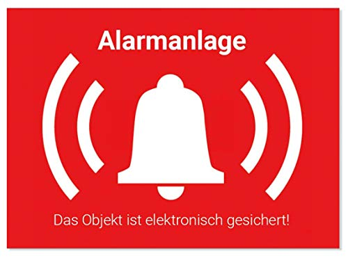 10 Stück Alarm Aufkleber Alarmgesichert Sticker innen & außen, Warnaufkleber Alarmanlage mit UV-Schutz, Aussenklebend, Objekt alarmgesichert, Hinweis Alarmanlage als Einbruchschutz für Fenster, Haus, Kellerfenster, KFZ um Einbrecher abzuschrecken, TOP Fensterfolie