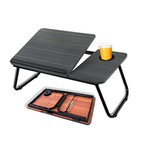 Laptop Bed Tray Desk for Bed Couch Sofa Foldable Lap Desk Table for Sitting or Standing with Folding Legs,Notebook Stand,Reading Holder, Cup Slot, for Eating,Reading and Watching Movie on Bed (Black)