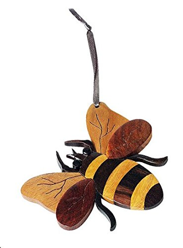 The Handcrafted Handmade Double Side Intarsia Wood Bee Ornament - Gift Boxed