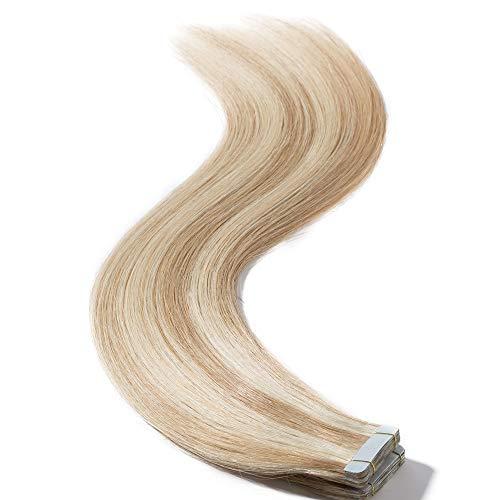 Tape in Extension Capelli Veri Adesive Meches - 40cm 50g 20 Fasce #18/613 Sabbia Biondo con Biondo - 100% Remy Human Hair Lisci Umani