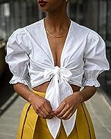 The Drop Haut pour Femme, Court, Noué sur le Devant, Blanc, par @signedblake, Taille XXS