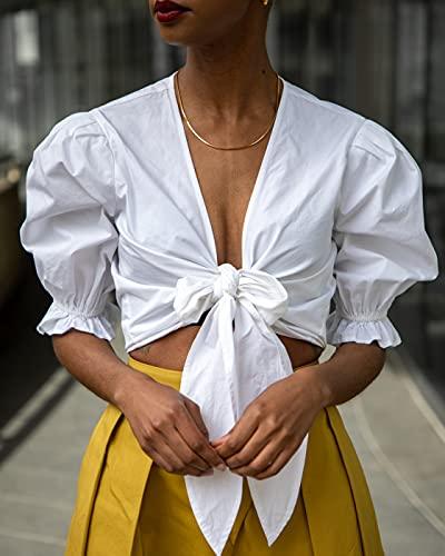 The Drop Top para Mujer, Corto con Nudo en el Pecho, Blanco, por @signedblake