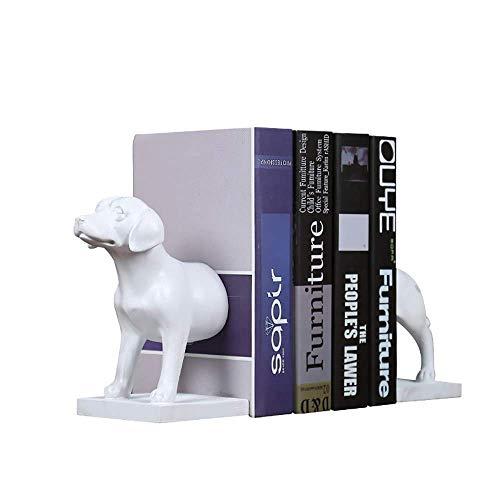 Hund Buchstützen - Weißer Glanz Kreatives Modellieren Nähen Buchstütze - Desktop Ornament Arbeitszimmer Basteln Arbeitszimmer Dekoration Bücherregal Ordentlicher Bücherstand