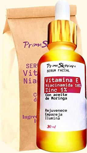 Suero Facial de Vitamina E Niacinamida 10% para Arrugas - Con Zinc 1% y B3 Combate Envejecimiento y es Aclarante de Manchas Resultados Garantizados 100% natural disminuye Signos de Edad 30 ml