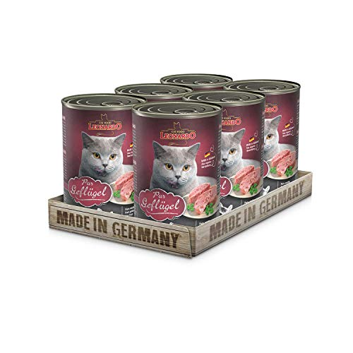Leonardo Nassfutter [6x400g Geflügel pur] | Getreidefreies Nassfutter für Katzen | Feuchtfutter Alleinfutter aus der Dose