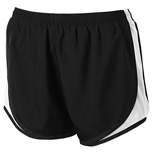 Ladies Moisture-Wicking Track & Field Running Shorts. Black/ White/ Black,XX-Large