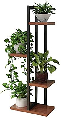 Plant Stand Flower Pot Holder 4 Tiers Metal Wood Indoor Outdoor Flower Shelf Rack Planter Storage Holder in Garden Balcony Patio Living Room Patio Lawn & Garden (Black)