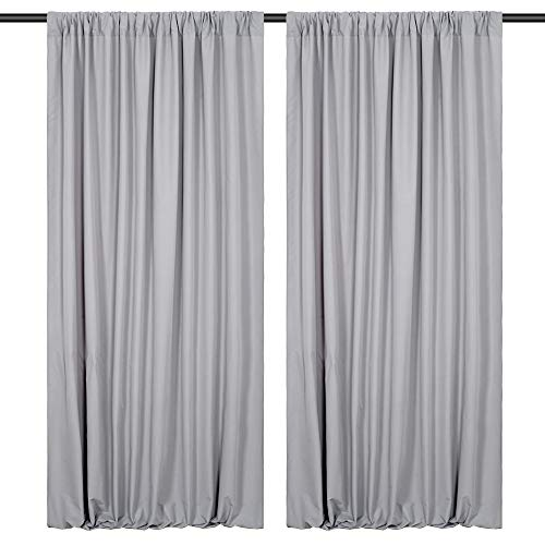 Wedding Backdrop 2 Pieces 5ftx10ft Gray Polyester Backdrop Curtains Birthday Party Ceremony Photography Wall Backdrop Decorations