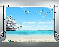 HD 7x5ft海の背景ビーチヨット自然風景写真背景スタジオプロップ写真 414