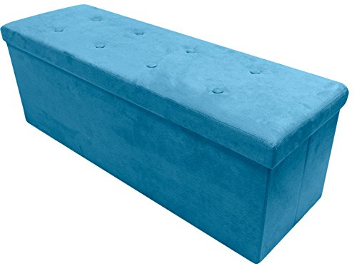 Teal Blue Faux Suede Ottoman with Storage