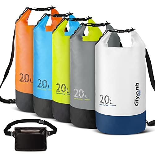 Glymnis Bolsa Estanca Bolsa Impermeable 10 L/20 L con Bolsa Cintura para Rafting Kayak Playa Senderismo Esquí Pesca Escalada y Camping (Negro 10 L)