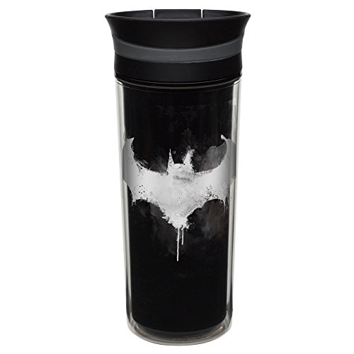 Zak! Designs Insulated Travel Tumbler featuring DC Comics Batman Graphics, BPA-free and Break-resistant Plastic, Double Wall Construction and Leak-proof Slide Lid, 16 oz. Capacity