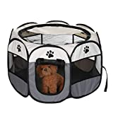 Shoze Pet <span class='highlight'>Cage</span> <span class='highlight'>Large</span> Portable Pet Dog <span class='highlight'>Cat</span> Playpen Tent Oxford Fabric Fence Breathable Mesh Kennel <span class='highlight'>Cage</span> Crate L Gray
