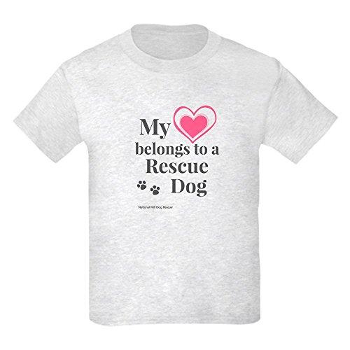 CafePress T-Shirt für Kinder, Herzmotiv, Rettungshund, leicht Gr. Kinder M, aschgrau