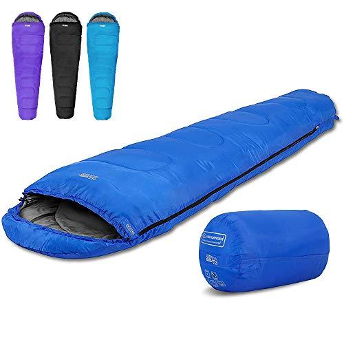 Highlander 2-Jahreszeiten-Schlafsack Sleepline 250 Mummy Schlafsack - Ideal für Camping, Wohnmobilausflüge, Festivals oder Übernachtungen - In vielen tollen Farben erhältlich (Royalblau)