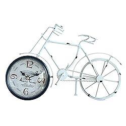 XZ max ^Desk Clock Desk Clock Creative Retro Wrought Iron Bicycle Metal Clock Living Room Bedroom Bedside Mute Non-Ticking Home Decoration Clock Bracket Clock (Color : B)