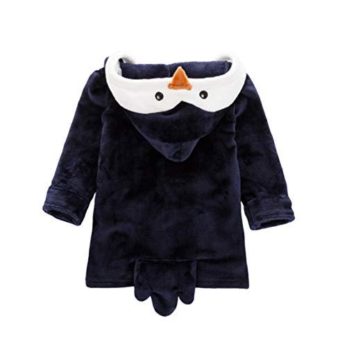 N-B Niños Pijamas Moda Dibujos Animados Pingüino Franela Albornoz Bebé Niñas Ropa de Dormir Otoño Invierno Cálido Ropa de Hogar