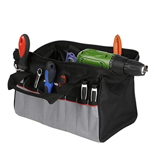 IRONLAND 14'' Tool Bag Wide Mouth wit Multi-Compartment 17 Pockets, Organizer Bag with Adjustable Shoulder Strap, Padded Handle
