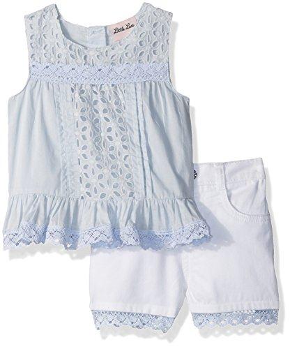 Little Lass Baby Girls' 2 Pc Embroidered Eyelet Short Set, Light Blue, 12M