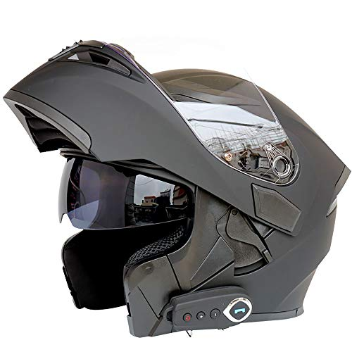 Bluetooth Integrado Modular Casco Moto Integral para Motocicleta, Personalidad Fresca Casco con Doble Visera, para Montar Al Aire Libre Apto para Cruceros Locomotora De Ciclomotor Chopper