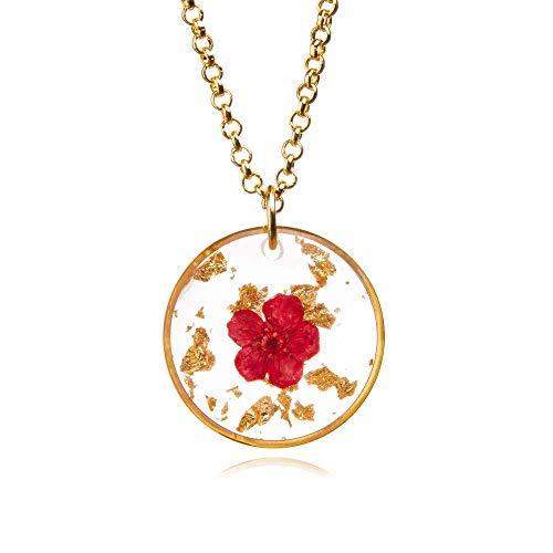 Vivi - Collar de flores reales | Joyería de resina | Flor prensada naturaleza joyería | Joyas de plantas reales | Regalo único para ella | 10NP