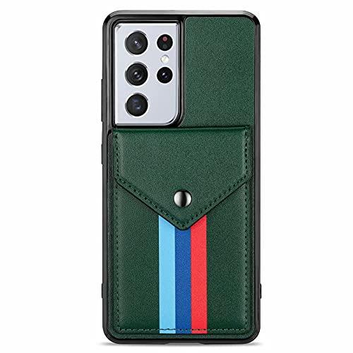 Lijc Compatible con Funda Samsung Galaxy S21 Ultra 5G Prima PU Cuero Tarjeta Bolsillos [Función de Soporte]con Desmontable Bandolera Acollador A Prueba de Choques Cartera Caso Cubrir-Verde Oscuro
