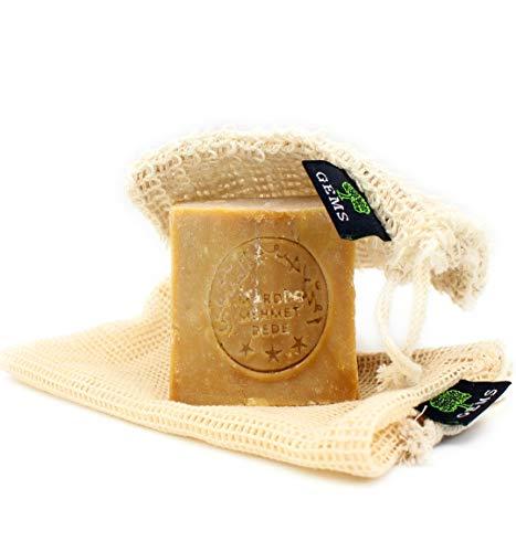 GEMS Original Aleppo Seife Set, 60% Olivenöl 40% Lorbeeröl Seife + Sisal Seifensäckchen + Reisebeutel, ca.200g, Handmade, Vegan, Naturprodukt, Haarseife, Duschseife, Original Rezeptur