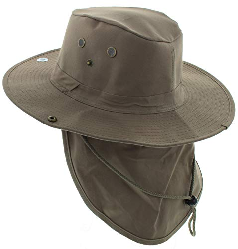 JFH GROUP Wide Brim Unisex Safari Outback Summer Hat with Neck Flap (Brown FB, Large)