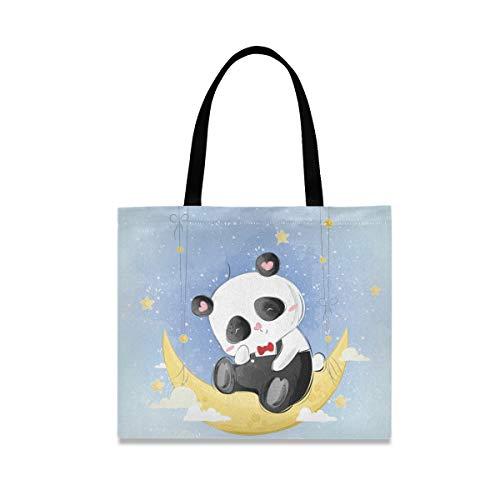 Lindo Panda Moon bolsa de lona para mujer grande reutilizable bolsas de comestibles con bolsillo interior bolso de compras para gimnasio playa viajes al aire libre