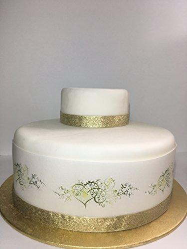 Essbares Deko-Glasurblatt zum Thema Hochzeit, Liebe, Borte für Kuchen der Größe 17,8 – 20,3cm –zur Dekoration Ihres Kuchens - einfach zu verwenden