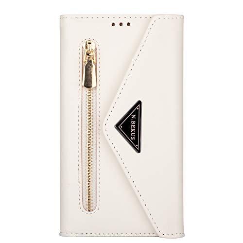 EuCase Cartera de piel 2 en 1 para iPhone XR antigolpes funda para iPhone XR con cordón ranura para tarjetas función soporte - Blanco