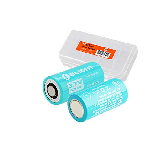 Olight 650mAh 3.7V 163C06 Battery (Pair) for Olight S10R III and H1R Flashlights plus LumenTac Organizer