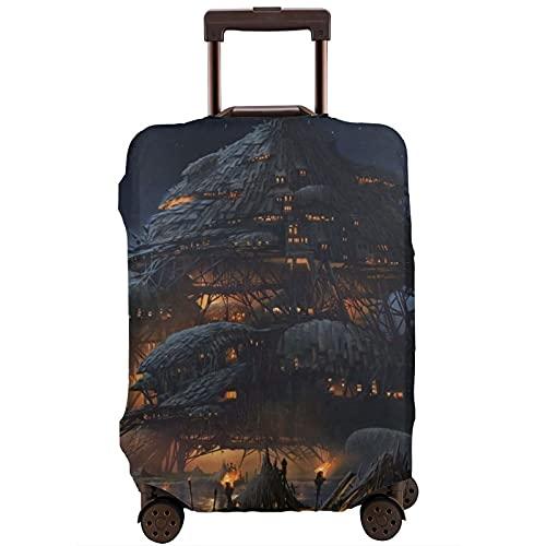 Cubierta de equipaje de viaje Fantasy Big House Artwork Maleta Protector lavable Fundas de equipaje