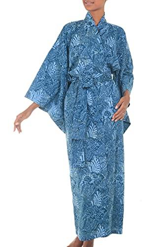 NOVICA Blue 100% Cotton Batik Robe, 'Blue Forest' (One Size Fits Most)