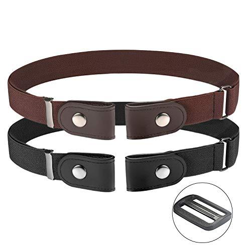 SKEPO 2 stuks gesploosvrije elastische riem voor dames en heren, zonder gesp, geen uitdeuking, onzichtbare tailleriem, zwart bruin